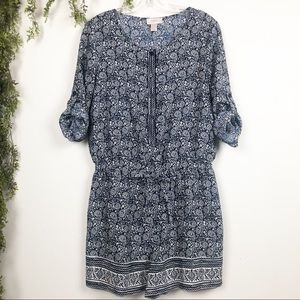 Loft | Navy and White Printed Romper